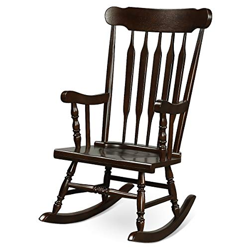Giantex Rocking Chair Solid Wooden Frame Outdoor & Indoor Rocker for Garden, Patio, Balcony, Backyard Porch Rocker (1, Dark Coffee)