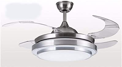 云TAOBeautiful Lighting City/Modern Design, Silver White Fan Chandelier Ceiling Fan with Light Invisible Simple Chandelier ...