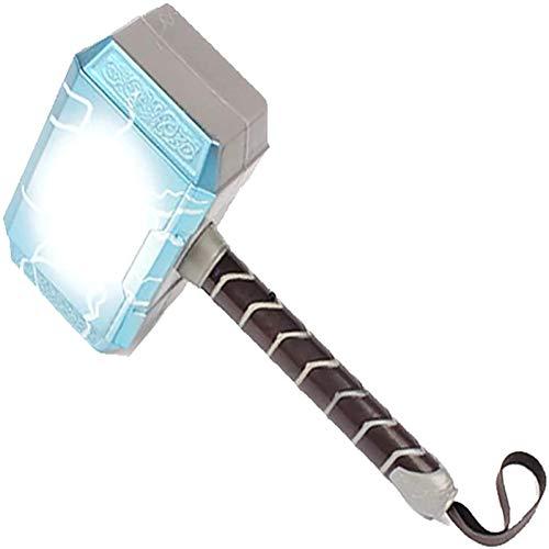 Martillo de Thor con iluminación LED y sonido Martillo de truenos Accesorios de cosplay de Halloween Martillo de Thor Hecho de PVC 18cm Arma inspirada en superhéroes