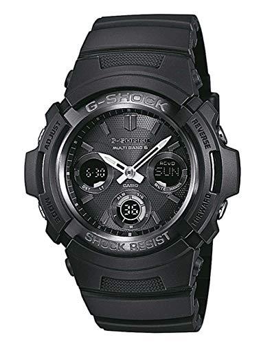 Casio G-SHOCK Orologio 20 BAR, Nero, con Ricezione Segnale Radio e Funzione Solare, Analogico - Digitale, Uomo, AWG-M100B-1AER