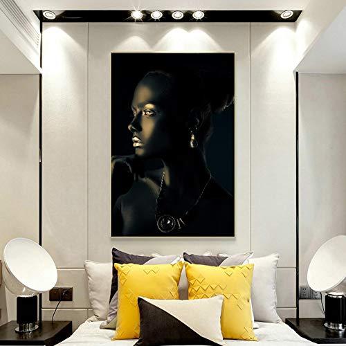 Mujer con piel perfecta y pintura de joyas de diamantes en lienzo, carteles e impresiones, imágenes artísticas de pared para la decoración de la pared de la sala de estar, 50x75cm sin marco