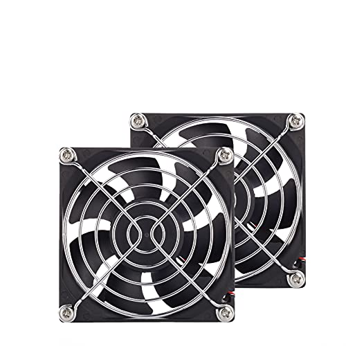 2-Pack 80mm Fan DC 12V Computer Fan 80mm x 80mm x 25mm 2-Pin High Performance Cooling Fan