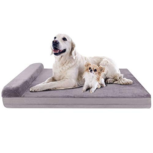 """JoicyCo Dog Bed Crate Mat Dog Beds for Large Dogs Pet Beds Furniture Foam Cushion Sofa Anti-Slip Bottom Mattress with Washable Cover (XL, Lilac Grey 4"""" Thickness) Beds"""