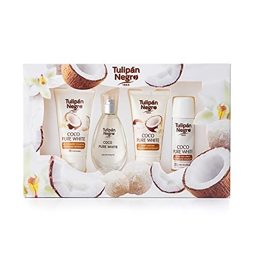 Tulipán Negro Estuche De Regalo Desodorante, Gel De Baño, Perfume, Body Lotion Coco Pure White, Afrutado