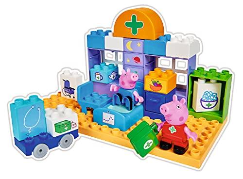 Big 800057144 Maletín Médico Bloques de Construcción Pig, 32 Piezas, Incluye Figuras de Peppa y George, Adecuado a Partir de 18 Meses