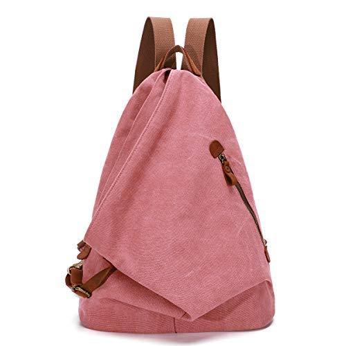 KL928 Retro Segeltuch Rucksack Canvas Vintage Rucksäcke Echtleder Daypack Reisetasche Schulterrucksack für Herren Damen (6882-Rust Red)