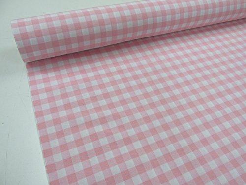 Confección Saymi Metraje 2,45 MTS Tejido Vichy Ref. Cuba Cuadro Medio 15x15 mm. Color Rosa Bebe, con Ancho 2,80 MTS.