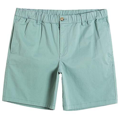 MaaMgic Herren Shorts Kurze Baumwolle Hose Bermuda Arbeitshose Elastischer Bund mit Multi-Pocket Arbeitsshorts Regular Fit, Mintgrün, S
