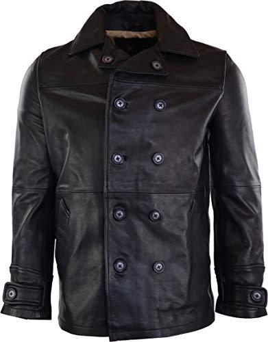 RICANO Caporn, Herren Lederjacke (Slim Fit) Kurzmantel (Zweireiher) aus echtem Rind Nappa Leder in schwarz (Schwarz, XL)