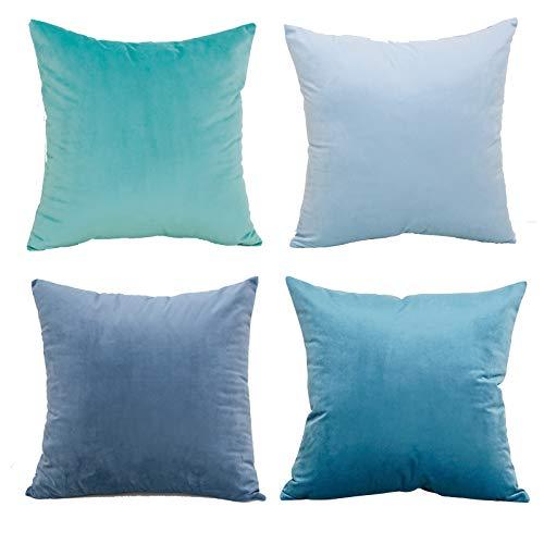 Eine Packung mit 4 Kissenbezügen aus Samtgewebe, die mit quadratischen Kissenbezügen verziert sind. Luxus-Kissenbezüge für Sofas. Wohnzimmer Schlafsofa mit unsichtbarem Reißverschluss 45 cm x 45 cm