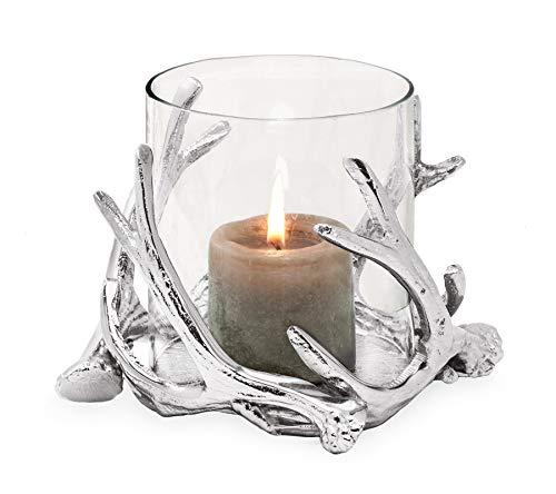 EDZARD Windlicht Kingston im Hirschgeweih Design, Aluminium vernickelt, mit Glas, Höhe 13 cm, Durchmesser 15 cm