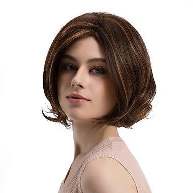 Js-wigs Perruque synthétique Naturel Wave Bob Coupe Cheveux synthétiques Cheveux méchés/balayage/African American Perruque Marron Perruque pour femme Longueur moyenne