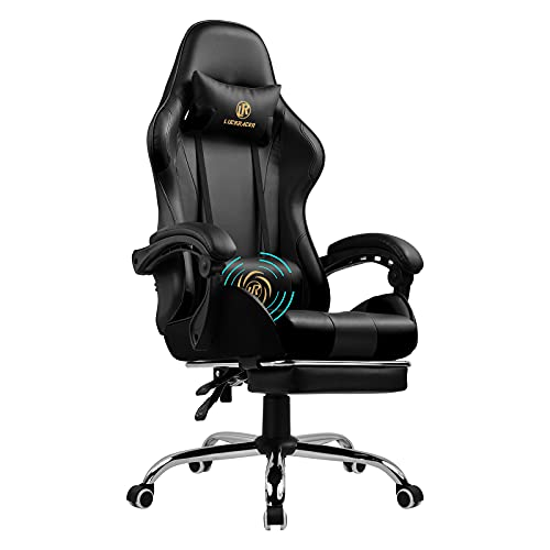 LUCKRACER Gaming Chair Massage With Footrest Ergonomic Office Chair With Massage Lumbar Pillow 360° Swivel & 150° Reclining High Back Support Height Adjustable Heavy Duty Computer Chair-BLACK