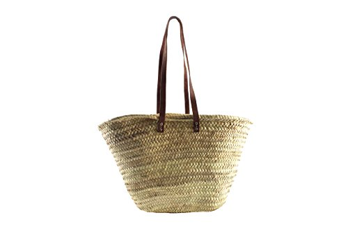 Kobolo Trendige Ibizatasche aus Palmblatt mit Lederhenkeln