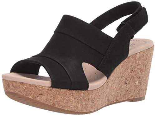 Clarks Women's Annadel Ivory Wedge Sandal, Black Nubuck, 080 M US