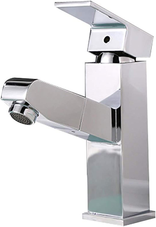 GXQSLT Wasserhahn, Waschbeckenhahn, Badezimmerarmaturen, Kupfer-Chrom-Ausziehbecken mit kurzem Wasserhahn, Küche Badezimmer