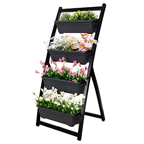 FXW Vertical Raised Garden Bed, 4 Feet/50 Inches Tiered Metal Vertical Planter with 4 Flower Boxes for Outdoor/Indoor