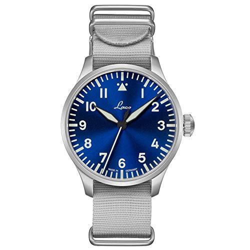 Laco Armbanduhr Fliegeruhr Basis Augsburg, Ø 42mm, hochwertige Automatikuhr, Einzigartige Qualität, 5 ATM Wasserdicht, Zeitloses Design – seit 1925 (Herren, Silber)
