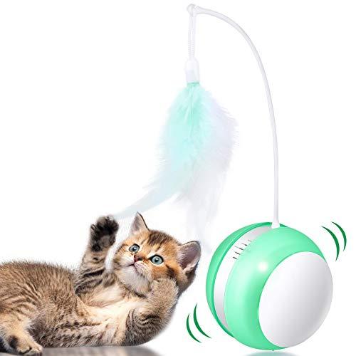 Giocattolo automatico per gatti, Giocattoli interattivi per gattini, Bicchiere, Ricaricabile USB, Rotazione intelligente, Giocattolo per animali domestici con luce lampeggiante e suono di uccelli