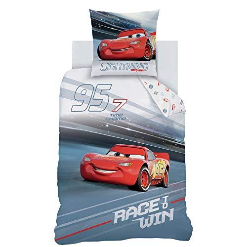 Ropa de cama de Cars de 135 x 200 cm y 80 x 80 cm de algodón, ropa de cama infantil para niños, 2 piezas, 1 funda de almohada de 80 x 80 cm y 1 funda nórdica de 135 x 200 cm