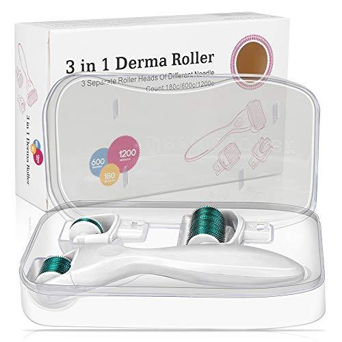 Jooheli Dermaroller, 0,5/1 / 1,5 mm 3 in 1 Derma Roller für Gesichtspflege, verwendet in engen Bereichen des Körpers und des Gesichts, mit Anti-Wrinkles/Pregnancy Marks/Hair Loss