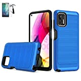 Phone Case Compatible with Straight Talk G-Stylus 2021 (6.8') / Moto G-Stylus Screen Protector/G-Stylus G-Stylus XT2115DL Case/Brush Shock Absorbing Dual-Layered Cover (Brush Blue +Tempered Glass)