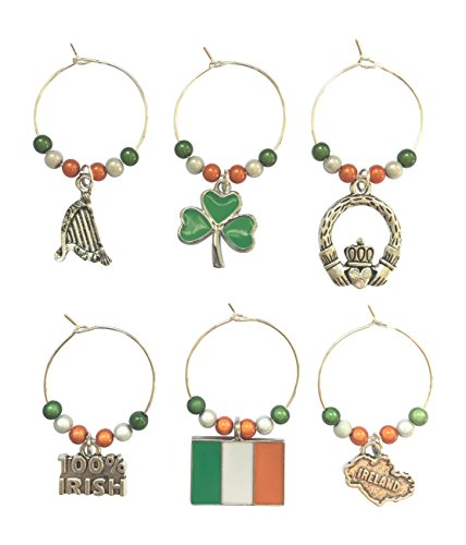 Libby's Market Place, Geschenkbox mit 6Weinglasanhängern mit Symbolen von Irland, handgefertigt