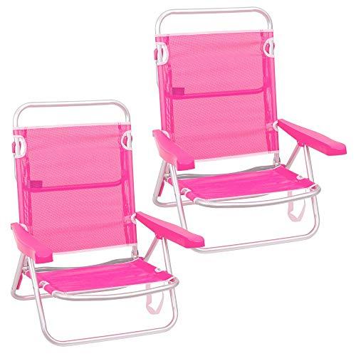 Pack de 2 sillas de Playa Convertibles en Cama de Aluminio y textileno (Rosa)