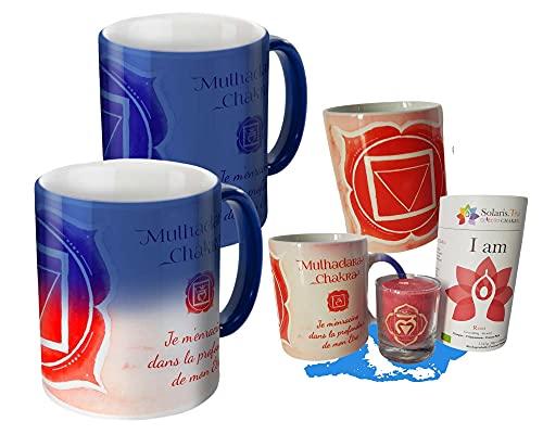 Caja de taza mágica que incluye una taza de infusión con vela de Chakra Raíz. Al contacto con la bebida caliente, la taza se ilumina asociada a los beneficios del té para comenzar bien el día.
