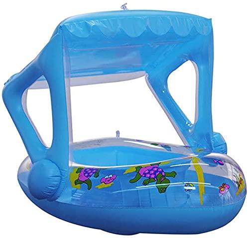 Anillo de natación inflable con asiento de agua y toldo bebé barco de natación para niños pequeños niños entrenamiento de piscina