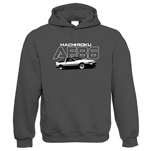 AE86 Hachiroku Hoodie | Car Pickup Bike Truck Rally Sports SUV Off-Road | Timeless Retro Vintage Iconic Seminal Memorable | Motoring Gift Him Her Birthday Large Charcoal