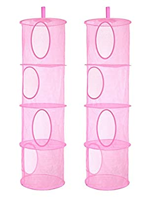 2Pcs Hanging Mesh Space Saver Bags Organizer, Foldable Storage Organizer 4 Compartments Toy Storage Organize for Kid Room Toys, Gloves,Hats,Socks Storage from coastal rose