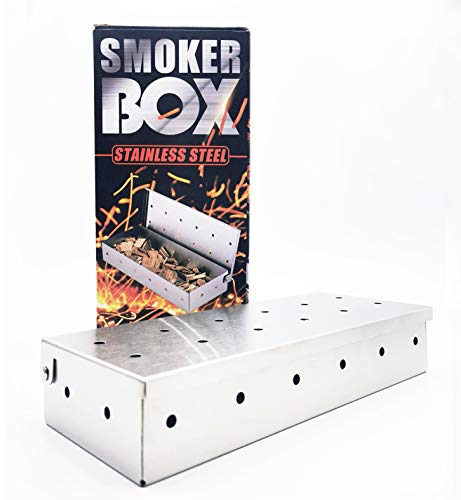 U/S Professional Smoker Box for BBQ Wood Chips Large Capacity Thick Stainless Steel Barbecue Meat Smoking Smoky Flavor Smoker Box for Charcoal and Gas Grill