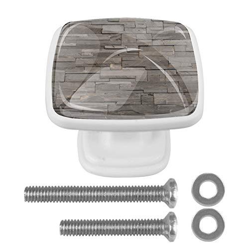 Perillas de gabinete con forma de círculo, de piedra, color gris oscuro, textura de azulejos de ladrillo, con tornillos, para gabinete de oficina en casa, armario (30 mm, 4 piezas)