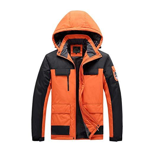 Chaquetas para hombre al aire libre, ropa acolchada de algodón, resistente al viento, impermeable y cálida ropa de montañismo 9XL - naranja - 6X-Large