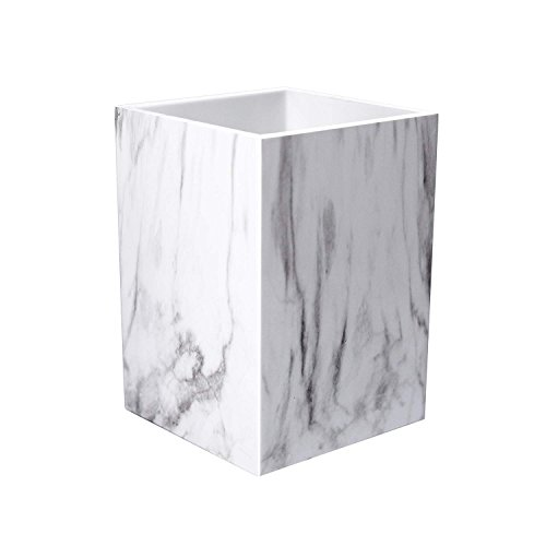 UNIQOOO Marble Print Desk Pen Organizer Pencil Holder Case Box with Modern Design in Elegant Matt Finish- Beautiful Stationery for Gift, Use in Office, Classroom, Home, Makeup Brush Pencil Cup Holders