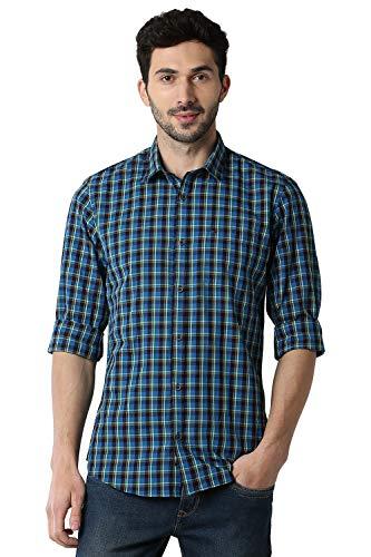 Peter England Men's Checkered Slim fit Casual Shirt (PCSFCSLP467450_DarkBlue 39)