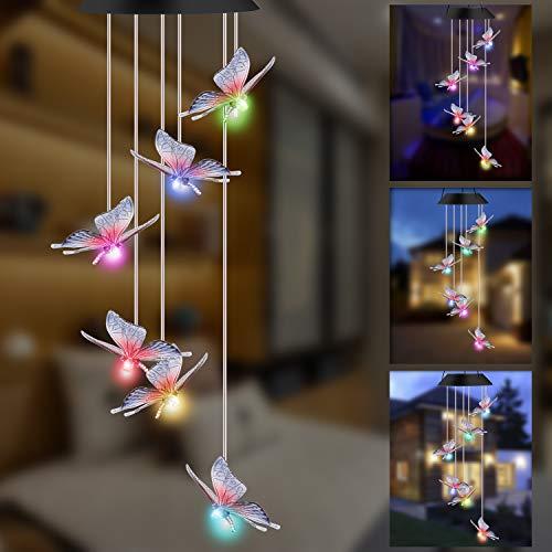 GLKEBY Solarleuchten Windspiele für Außen mit Farbwechsel Solar LED Schmetterling Windspiele Beleuchtung (Butterfly-02)