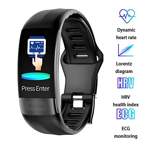 EKG + HRV Blutdruck Herzfrequenz-Messung Smart Watch mit Schlafüberwachung Sport Bluetooth Social Push-wasserdichte Uhr - Android und iOS,Schwarz