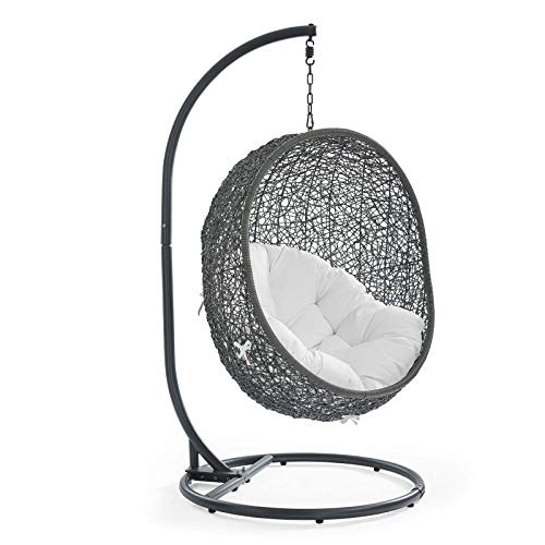 Modway Hide Wicker Rattan Outdoor Patio Porch Lounge Egg Swing Chair Set with Stand in Gray White
