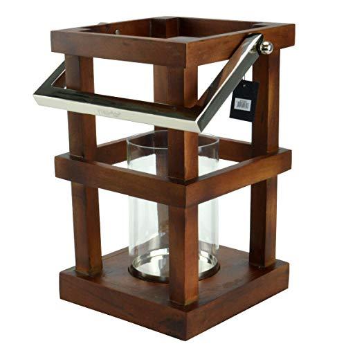 PTMD Windlicht Laterne Mangoholz Kerzenhalter Glaseinsatz Deko braun ca. 38cm