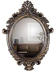 KURTZY Classic Antique Style Wall Mirror, Oval Sculpt for Home Décor, Living Room, Bedroom and Bathroom (46 cm x 63 cm) (Elliptical).