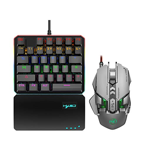 RGB One Handed Mechanical Gaming Keyboard and Programmable Mouse Combo,USB Wired Gaming Keypad and LED Backlit Mouse for LOL/PUBG/Wow/Dota/OW [35 Keys & Blue Switches] (Gray)