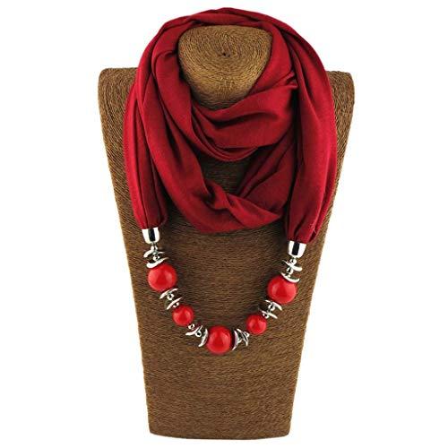 Kofun Bufanda De Mujer, Collar Pañuelo para Mujer Bufanda Collares Cuentas De Color Sólido Joyería Chal Vino Rojo