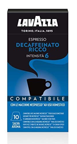 Lavazza, 100 Capsule Compatibili Nespresso, Espresso Decaffeinato Ricco, 10 Confezioni da 10 Capsule