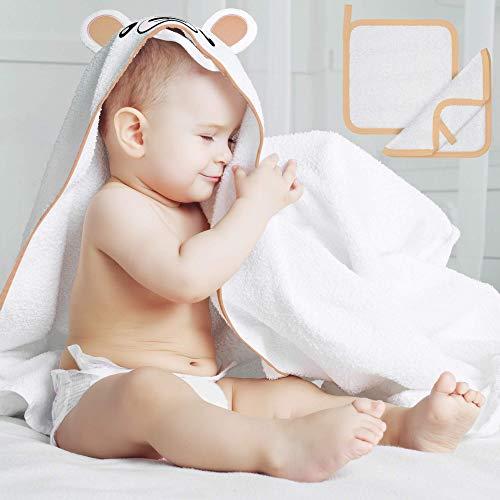 Premium Kapuzenhandtuch für Babys und kleine Kinder von BEARTOP | inkl. Waschlappen | 90 x 90cm groß | aus Bambus | extra warm | saugstarkes Badetuch | mit Kapuze | Zufriedenheitsgarantie (3 Jahre)*