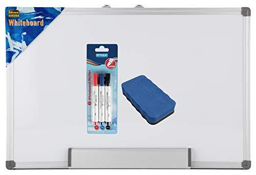 Idena 568024 - Whiteboard, 40 x 30 cm, mit Aluminiumrahmen und Stiftablage (40x30 + Schwamm + Marker +)