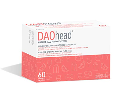 DAOhead – Manejo Dietético de la Migraña Causada por déficit de DAO/Intolerancia a la histamina - 60 Cápsulas EFICAPS con Comprimidos Gastrorresistentes – Enzima DAO, Vitamina B6, B9, B12 y Cafeína