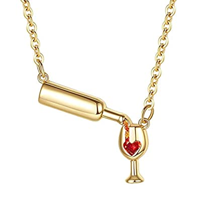 Fine Wine Glass Pendant Necklace, Wine Jewelry Gift for Wine Lovers Enamel Heart Pendant Chain Necklace Jewelry Girl 'S (Gold)