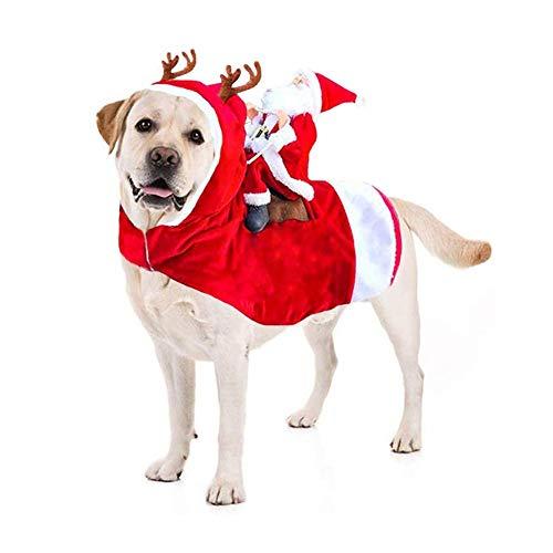 Heren huisdier kerst kostuum, grappige kerstman rijden een hond capuchon mantel, Kerstmis Cosplay kleding voor kat hond, M